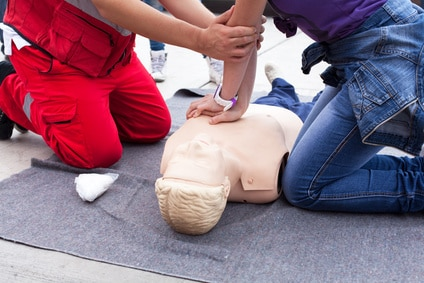 First aid training. Cardiopulmonary resuscitation.