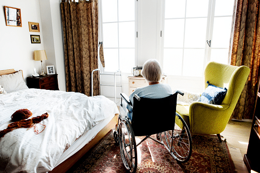 Elderly person in nursing home